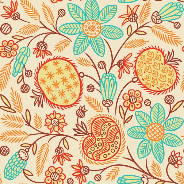 Foto stock: Sin · costura · floral · patrón · papel · textura · resumen