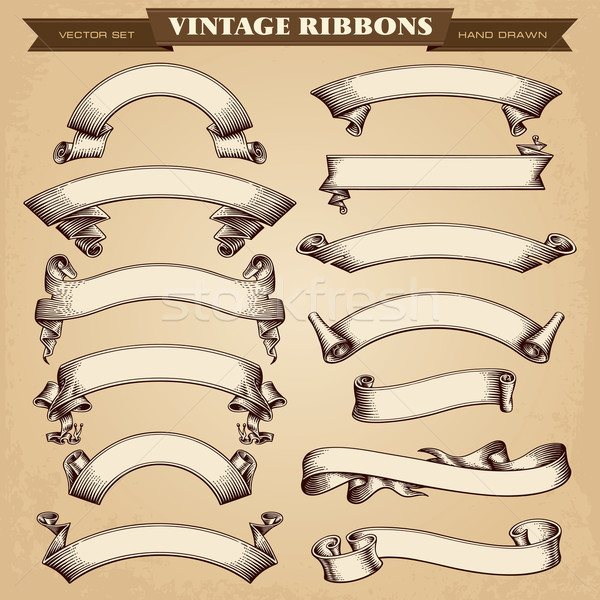 Vintage Ribbon Banners Vector Collection Stock photo © digiselector