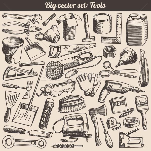 Coleção trabalhando ferramentas vetor edifício Foto stock © digiselector