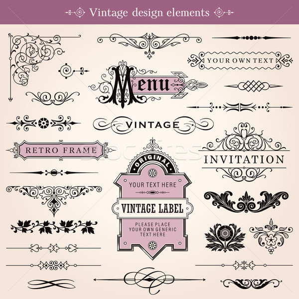 Vintage Calligraphic Design Elements And Page Decoration Stock photo © digiselector