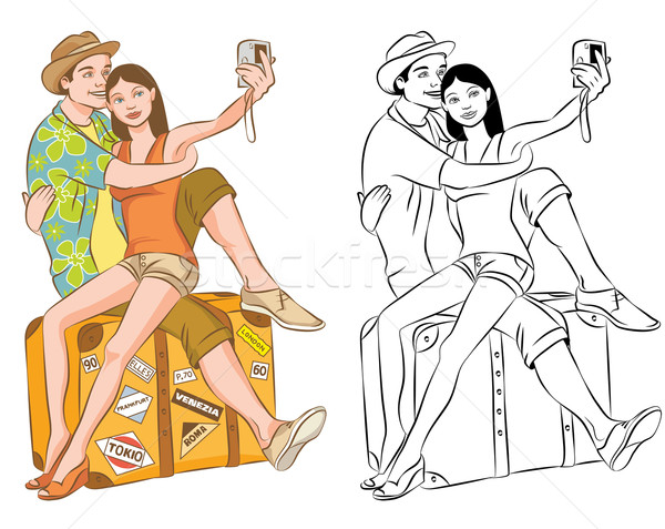 Tourist Couple Taking Their Self Portrait Vector Illustration Stock photo © digiselector