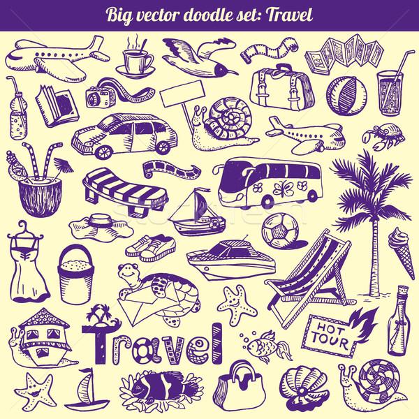 Viaje garabatos colección vector establecer coche Foto stock © digiselector