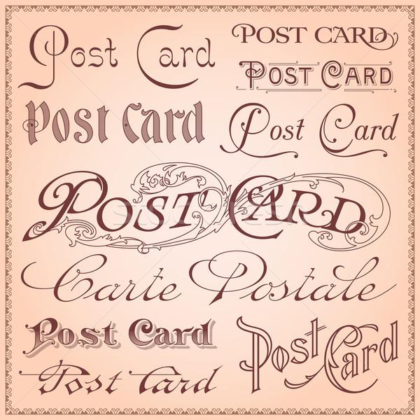 Vintage postcard letterings vector Stock photo © digiselector
