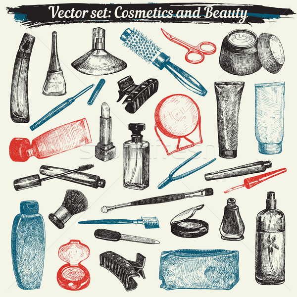 Cosmetics And Beauty Doodles Set Vector Stock photo © digiselector