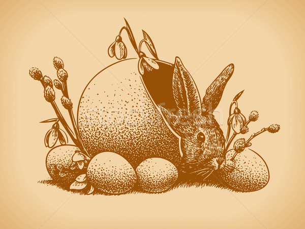 Easter Bunny Vintage Style Vector Stock photo © digiselector