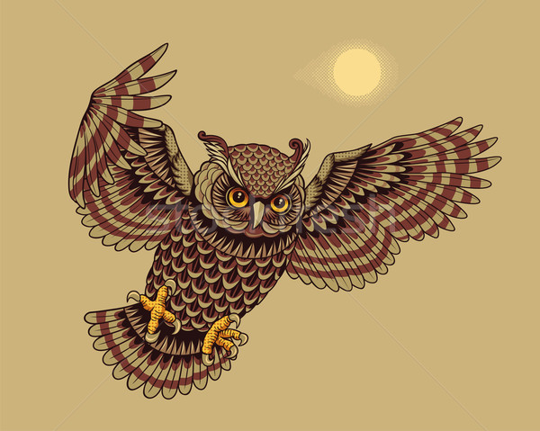 Foto stock: Voador · coruja · pássaro · caça · animal · desenho · animado