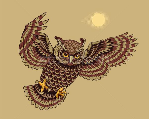 Voador coruja pássaro caça animal desenho animado Foto stock © digiselector