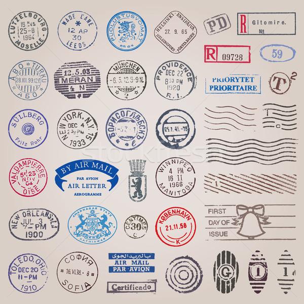 Vintage sellos vector establecer países todo Foto stock © digiselector