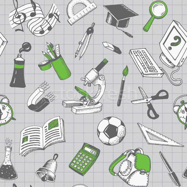 School And Education Seamless Pattern Vector Stock photo © digiselector