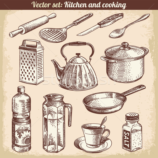 Kitchen And Cooking Set Vector Stock photo © digiselector