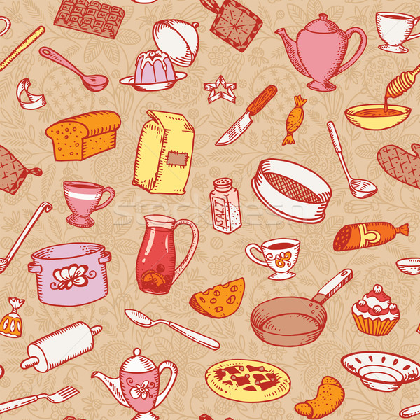 Kitchen And Cooking Seamless Pattern Vector Stock photo © digiselector