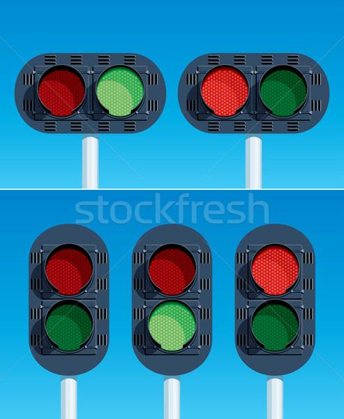 Demiryolu trafik ışıkları yol Metal imzalamak tren Stok fotoğraf © digiselector