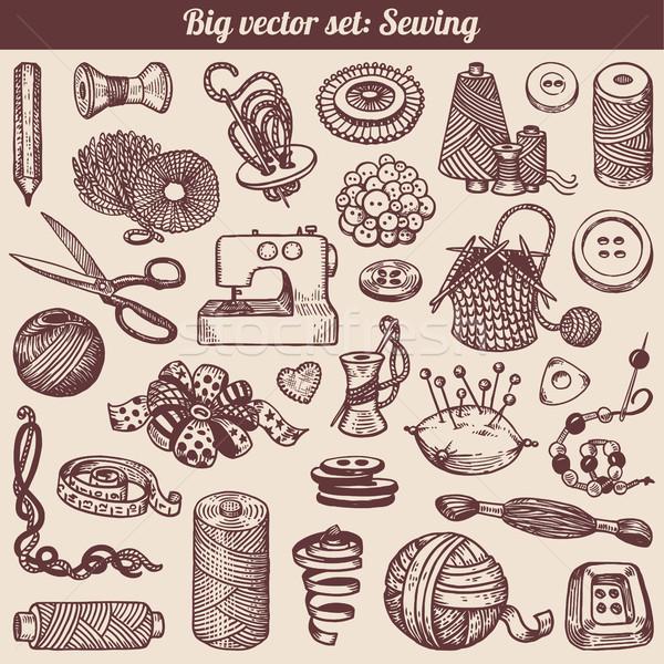 ミシン 裁縫 コレクション ベクトル リボン ストックフォト © digiselector