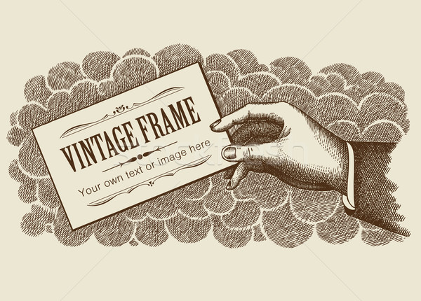 Vintage Frame Background With Hand Vector Stock photo © digiselector