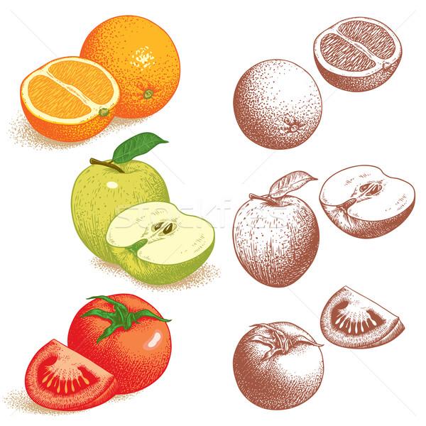 Orange, Apple, Tomato Stock photo © digiselector