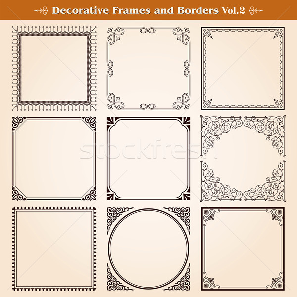 Decorative frames and borders set vector Stock photo © digiselector