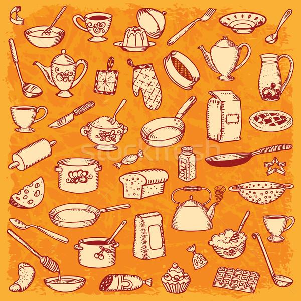 Foto stock: Cocina · cocina · garabato · establecer · vector · alimentos