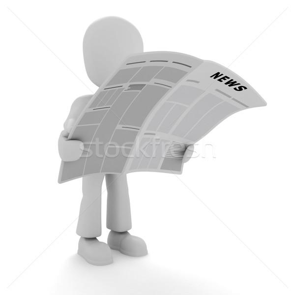 Mężczyzna 3d czytania wiadomości działalności papieru człowiek Zdjęcia stock © digitalgenetics