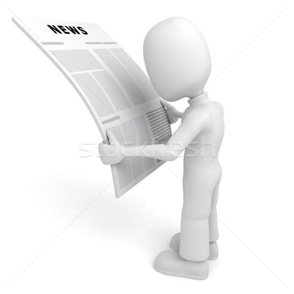 Uomo 3d lettura news business carta uomo Foto d'archivio © digitalgenetics