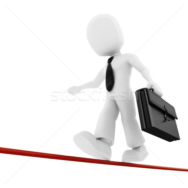 Foto stock: O · homem · 3d · empresário · caminhada · fino · linha · negócio