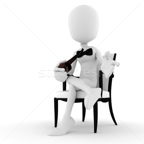 3次元の男 アームチェア 喫煙 パイプ 孤立した 白 ストックフォト © digitalgenetics