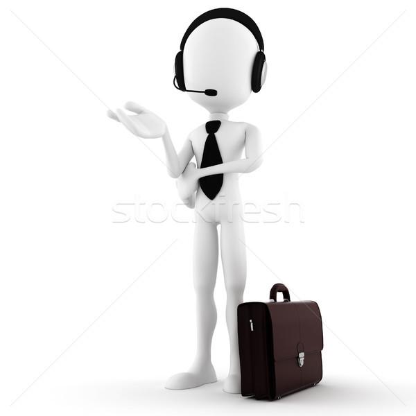 Mężczyzna 3d człowiek biznesu oferowanie wsparcia działalności telefonu Zdjęcia stock © digitalgenetics