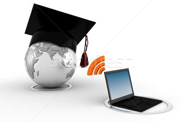 3D online oktatás számítógép földgömb terv világ Stock fotó © digitalgenetics
