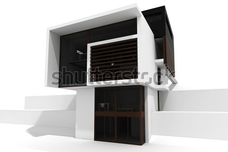 Stock photo: 3d modern house, isolated on white
