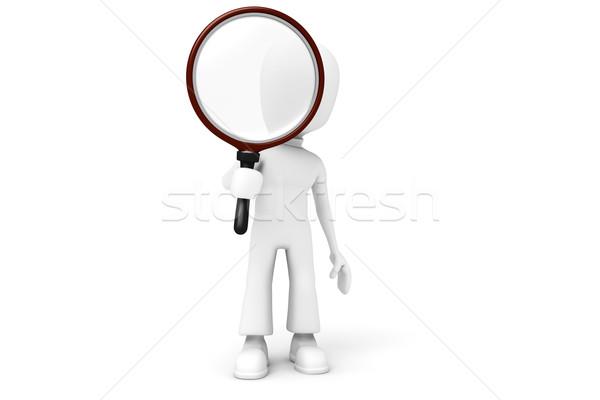 3d man holding a big magnifying glass Stock photo © digitalgenetics