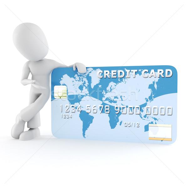 3d man standing near a business card Stock photo © digitalgenetics