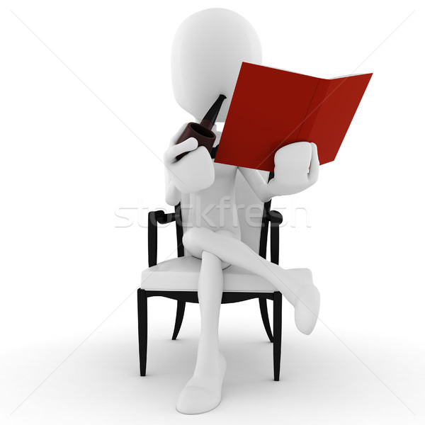 3d man lecture livre fumer pipe isolé Photo stock © digitalgenetics