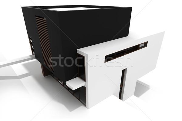 3d modern house, isolated on white Stock photo © digitalgenetics