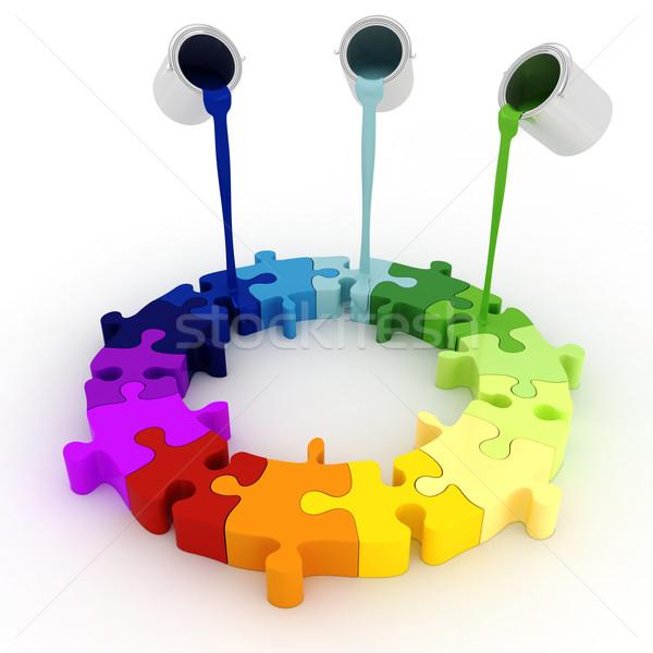 3d paint buckets drop over puzzle pieces Stock photo © digitalgenetics