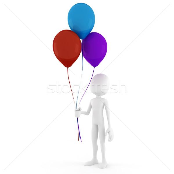 3d man holding some colorful balloons Stock photo © digitalgenetics