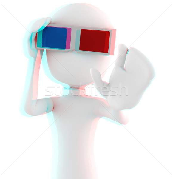 3d man with 3d glasses - Anaglyph Red-Cyan image, so put your 3d glasses ON ! :) Stock photo © digitalgenetics