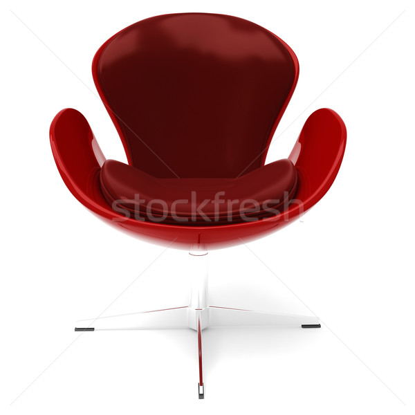 3d red leather armchair islated on white Stock photo © digitalgenetics