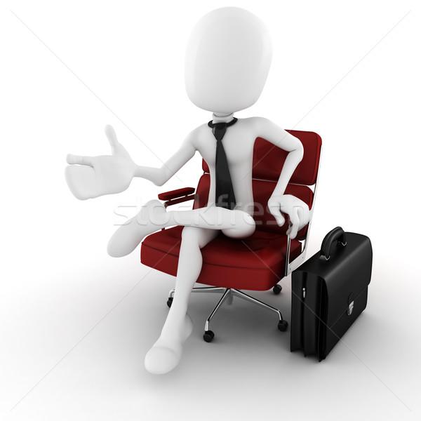 3d man homme d'affaires bras président imaginaire Photo stock © digitalgenetics