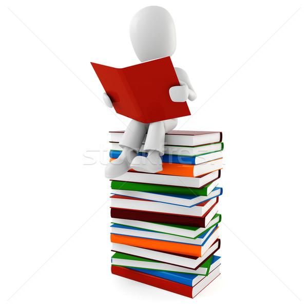Mężczyzna 3d czytania książki człowiek szkoły streszczenie Zdjęcia stock © digitalgenetics