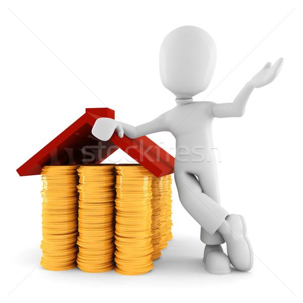 3d man saving money, on white background Stock photo © digitalgenetics