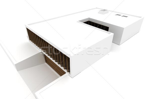 Stock fotó: 3D · modern · ház · izolált · fehér · család