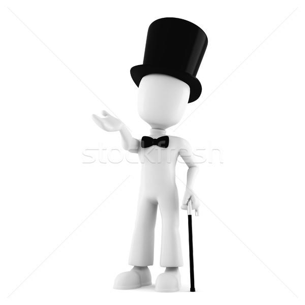 3d man with a big hat, isolated on white background Stock photo © digitalgenetics