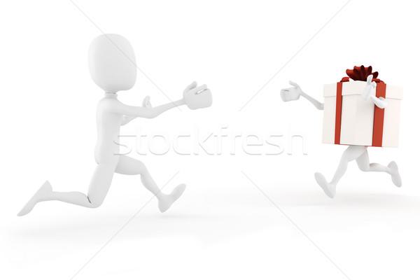3次元の男 現在 ボックス を実行して その他 紙 ストックフォト © digitalgenetics