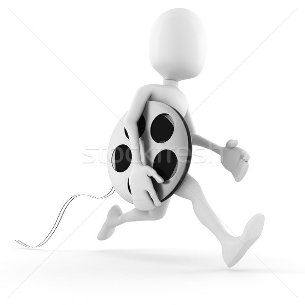 3d man running to bring the newest  film Stock photo © digitalgenetics