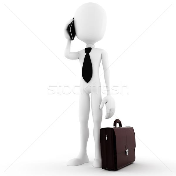 3d ember üzletember beszél új okostelefon üzlet Stock fotó © digitalgenetics