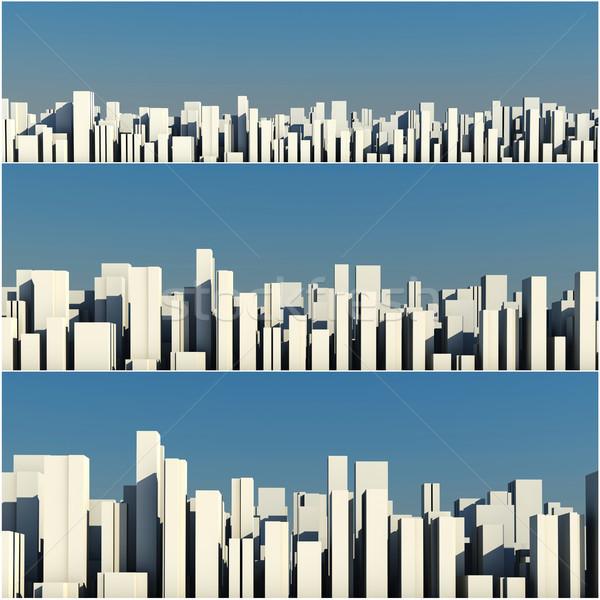 3D skyline folla città ufficio Foto d'archivio © digitalgenetics