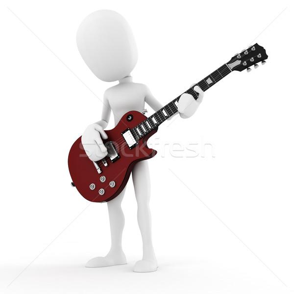Foto stock: O · homem · 3d · guitarrista · música · estrela · homem · dançar