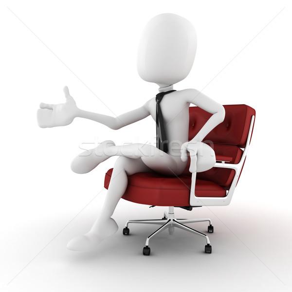 Uomo 3d uomo d'affari braccio sedia immaginario Foto d'archivio © digitalgenetics