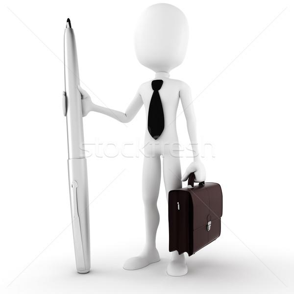 3次元の男 ビジネスマン 鉛筆 孤立した 白 ストックフォト © digitalgenetics