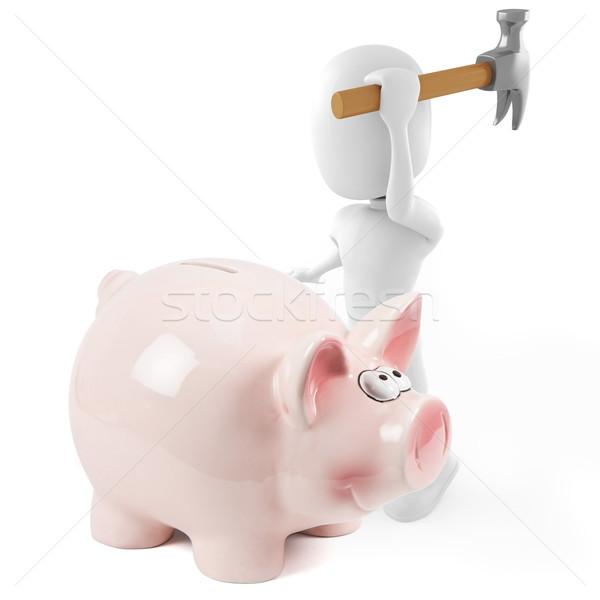 3d man and pink picbank Stock photo © digitalgenetics