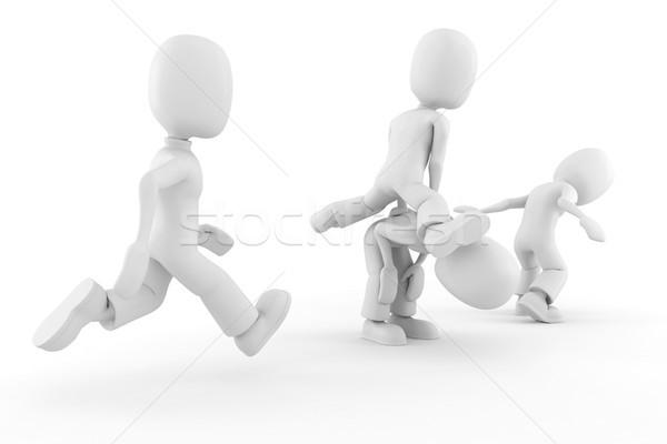 Stockfoto: 3D · kinderen · spelen · geïsoleerd · witte · handen · kinderen